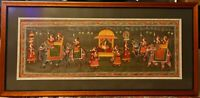 Vintage Framed Original Indo-Persian Processional Gouache Painting On Silk 22x47