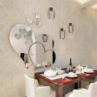Removable 3D Herzen DIY Kunst Spiegel Wandaufkleber Aufkleber Raumdekoration DE