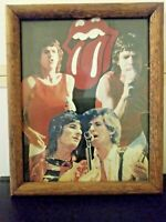 Rolling Stones Mic Jagger Rock Action Reprint 9 X 11 Logo Lips Glass Wood Frame