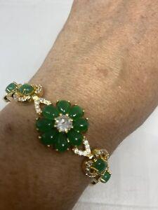 Vintage Green Jade Golden Bracelet 7.5 Inches
