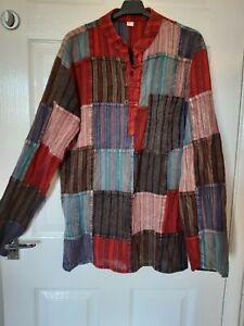 Mens Boho Hippy Grandad Patchwork Cotton Ethnic Shirt Pockets Size M