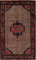 Brown Medallion Koliaei Oriental Area Rug Wool Hand-Knotted Geometric Carpet 4x7