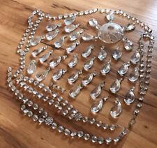 New listing Chandelier Art Glass Crystal Faceted Drop Pendant Prisms Restoration Vintage Lot