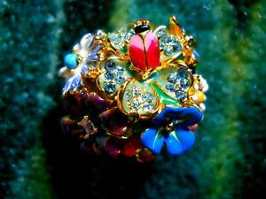Kenneth Jay Lane Crystal Garden Party Flower Butterfly Lady Bug Adj Ring 5 - 9