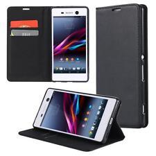 Funda-s Carcasa-s para Sony Xperia M4 Aqua Libro Wallet Case-s bolsa Cover Negro