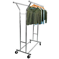 Commercial Collapsible Clothing Rolling Double Garment Rack Hanger Holder US
