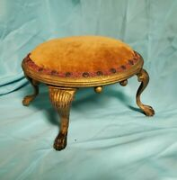 Antique Orginal Victorian Foot Stool with Cast Iron Legs late 19th Century