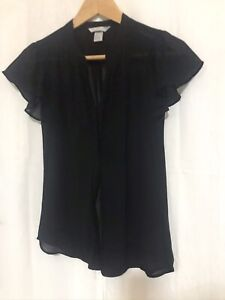 Black Short Sleeve Shiffon Top