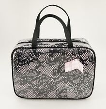 NEW Victorias Secret Hanging Travel Case Pink and Black Flower Lace Cosmetic