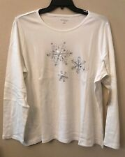 NWT Kim Rogers Women's Plus 2X White Silver Sparkle Snowflake Blouse Top