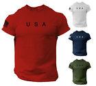 USA Flag Men T Shirt American Tee Patriotic Gym 100% Cotton S - XXL