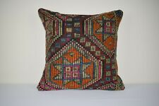 Orange Tribal Kilim Rug Pillow Rustic Decoration Outdoor Garden Throw 20''x20''