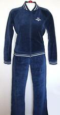 NEW TRF Zara Velour Blue White Track Lounge Suit Cotton Pants Jacket Sz EUR L M