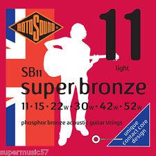 Rotosound SB11 Phosphor Bronze Contact Core Acoustic Guitar Strings Light 11-52
