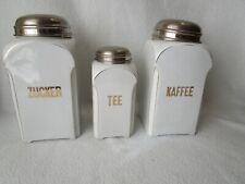 3 alte Porzellan Vorratsdosen Vorratsgefässe Metallmontur Kaffee Zucker Tee