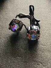Hematite Drop Earrings ❤️ Aurora Borealis Crystals W/ Swarovski Crystals