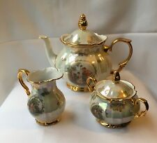 L'Amour  Iridescent Gold Scroll Footed Tea Pot Set Creamer & Sugar East Germany