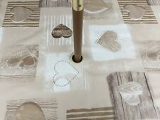 1.4x3.0m OVAL BEIGE WOODEN HEARTS PVC /OILCLOTH WITH PARASOL HOLE - 10/12 SEAT