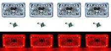 "4X6"" Red LED Halo Angel Eye Halogen Headlight Headlamp Bulbs Crystal Clear Set"