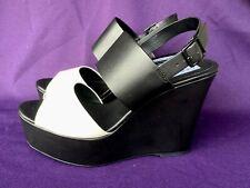 STEVE MADDEN Black & White Wedges Platforms Slingbacks Womens Size 9 ❤️sj18m1