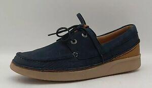 Men's CLARKS Oakland Sun Size UK 6 Navy Nubuck Casual Lace up Loafers In E U C