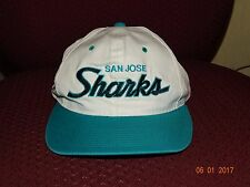 Vintage San Jose Sharks TWILL SPORTS SPECIALTIES Script Snapback Hat  90's NWOT