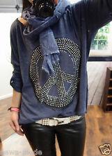 Set 2Tlg Shirt Schal 44 XL Neu Blogger Trend Vintage Peace Bluse Glitzer Pulli