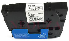 Black on Clear Label Tape Compatible for Brother Tz TZe 121 Tze121 P-Touch 8m