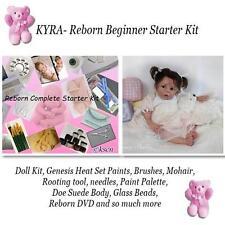 REBORN Starter Beginner Kit, Genesis paints, Mohair, DVD, REBORN DOLL KIT- KYRA