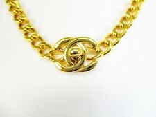 Authentic CHANEL Vintage CC Logo Gold Plated Turnlock Necklace #6753
