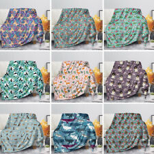 Floral Animal Blanket Flannel Bedding Rugs Sofa Bed Kids Quilt Cute Colored