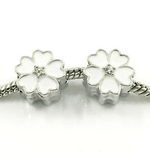 2pcs Silver Flower European Charm Crystal Spacer Beads Fit Necklace Bracelet ~~~
