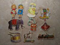 8 B ShackMan Christmas Ornaments Vintage Die Cut Gold Stamped