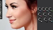 10 x Different Colours Surgical  Steel Nose Screw Spiral Crystal Nose Piercing