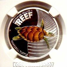 AUSTRALIA: 2011 50 c Proof 1/2oz Ag The Reef Series: Turtle NGC PF69 ULTRA CAMEO