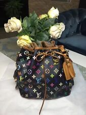 Authentic Louis Vuitton Monogram Multicolor Shoulder Bag Petit Noe Drawstring