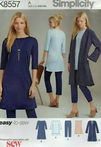 Simplicity Sewing Pattern 8557, EASY Knit Duster Dress Tunic Trousers Size 4-26