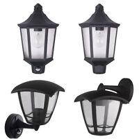 LED Outdoor Exterior Half Lantern Wall Porch Up Light Black Security Sensor PIR