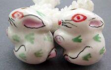 2Pcs Ceramics Porcelain Happy Lucky Chinese Zodiac Rabbit Beads Finding