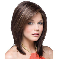 Womens Ombre Real Natural Medium Straight Hair Wig BOB Style Cosplay Full Wigs·