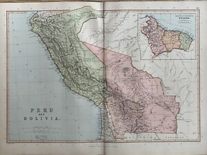 1891 PERU & BOLIVIA ORIGINAL ANTIQUE COLOUR MAP BY W.G. BLACKIE 129 YEARS OLD