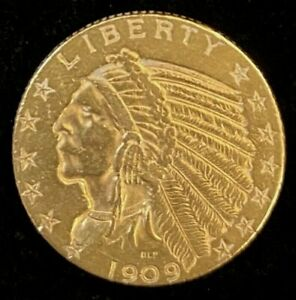 1909-D $5 Indian Head Gold Coin.! Uncertified.! NR.!