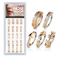 Rose Gold CZ Ear Cartilage Earrings Daith Tragus Helix Hoop Nose Rings
