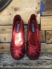 Red Glitter Ballet Flat  Dorothy Wizard of Oz Ruby Slippers  Size 7  Funtasma