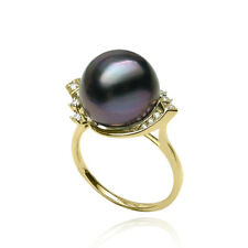 12.49mm Natural Purple Tahitian Cultured Pearl Ring Solid 14k Yellow Gold au585