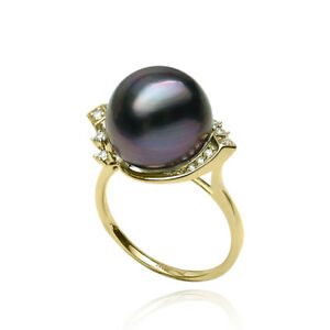 12mm+ Natural Purple Tahitian Cultured Pearl Ring Solid 14k Yellow Gold AU585 7#
