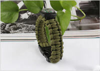 Army Green Bracelet Outdoor Survival Equipment  Compass Buckle Whistle Fj