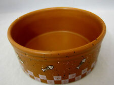 "Cat Kitty Ganz Feeding Dish Bowl 4"" Pottery Brown White Splatter Paint Fish Bone"