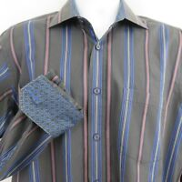 Bugatchi Uomo Blue Gray Stripe Mens L Shirt Convertible Flip Cuffs