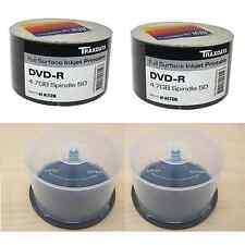 LOTE: 1 x PAQUETE DE 100 TRAXDATA IMPRIMIBLE 16X DVD-R Y 2 50 EJE DISCO TUBOS